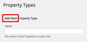 Add New Property Type label