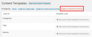 Content Templates for Archives and Taxonomy listing