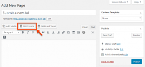 CRED Forms button in WordPress editor