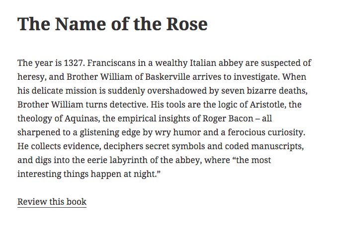 Example of a book page containing a link to the review form.