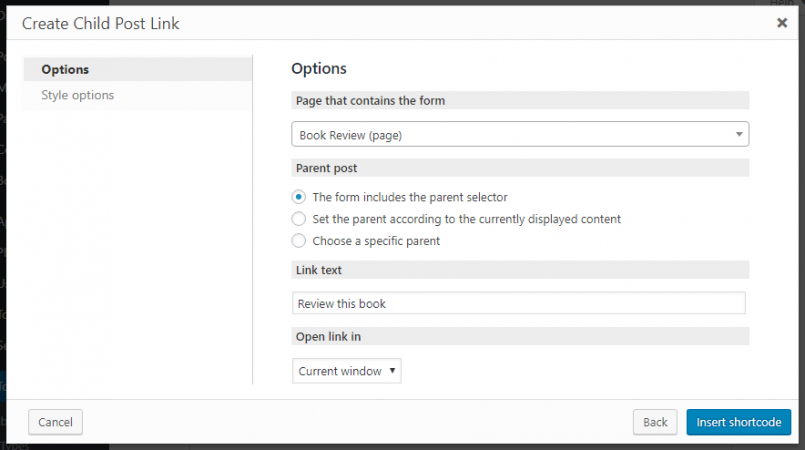 Options for the Create Child Post Link