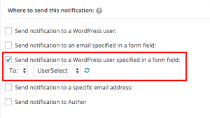 Options for sending the notifications to the user specified in the generic field