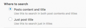 Filter by Post search – where to search