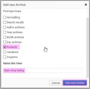 Shop WordPress archive