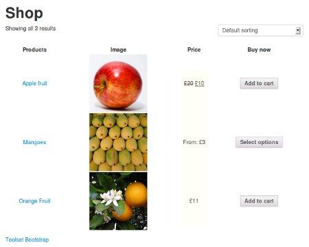 Shop base page