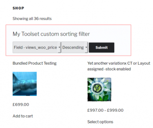 Custom product search controls created with Toolset