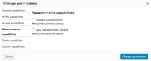 Editing WooCommerce capabilities using Access plugin