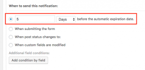 CRED settings for email notifications when posts expire