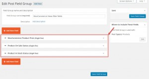 Editing a group of WooCommerce Custom Post Fields with Types