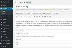 2. Single service post including custom fields - WordPress Dashboard