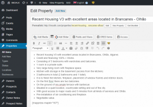 Single property in the WordPress backend - English version