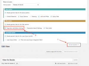 Enabling Pagination section for an existing View