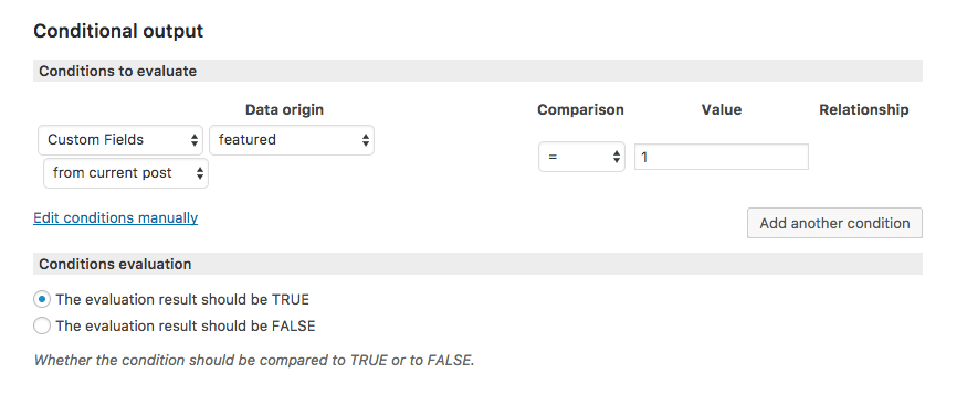 Condition for custom field