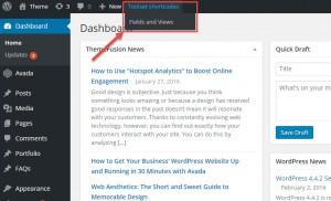 Toolset shortcodes menu in the WordPress toolbar