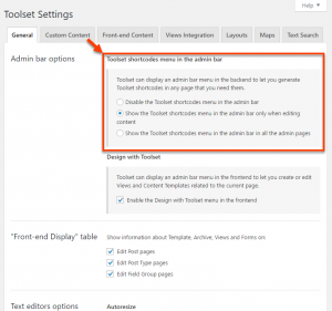Toolset shortcodes menu options on the Toolset Settings page
