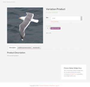 Default look of the variation product on the front-end
