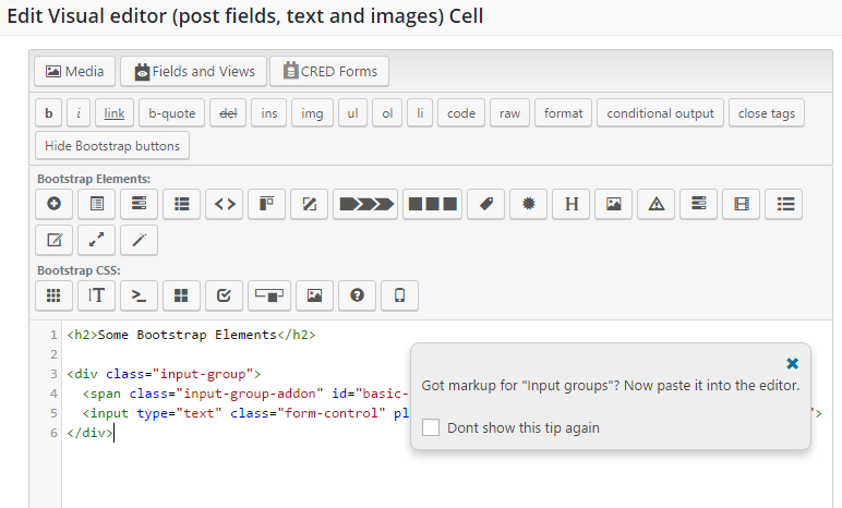 The cell in Layouts, after inserting the HTML for the Bootstrap element