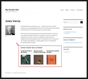 Displaying book child posts on the author's post