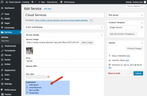Custom field of the Service Post Type - back-end view