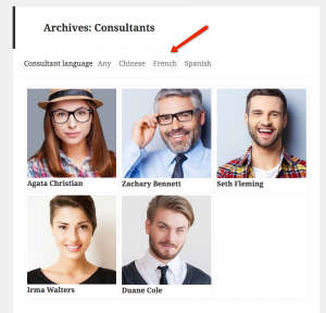 A filterable archive based on taxonomy terms. See live example