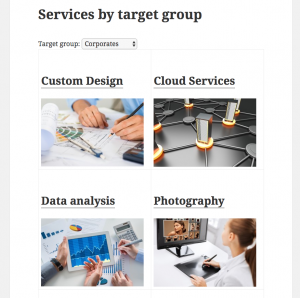 A filterable list of custom posts based on a custom field. See live example