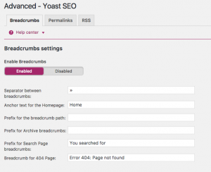 Enabling breadcrumbs in the Yoast SEO plugin