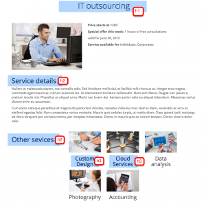 Single service page with headings