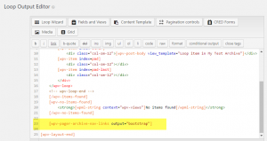 Filter Editor with inserted pagination controls using Bootstrap styling