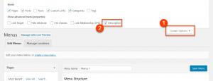 Enabling menu item descriptions on the Menus admin page