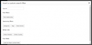 The new dialog for inserting custom search filters