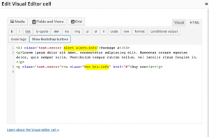 Bootstrap classes added to the HTML markup inside the Visual Editor cell