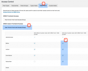 Making the form visible for subscribers