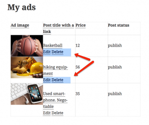My ads page with Edit and Delete links