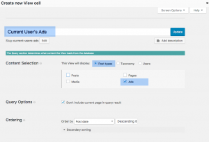 Creating a View that displays current user's ads