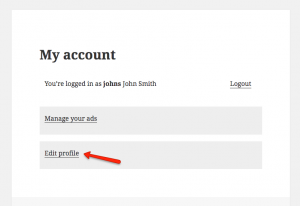 """The """"Edit profile"""" page will be available from the """"My account"""" page"""