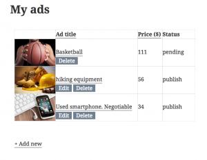 My ads page