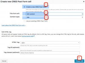 Setting up the CRED Post Form cell