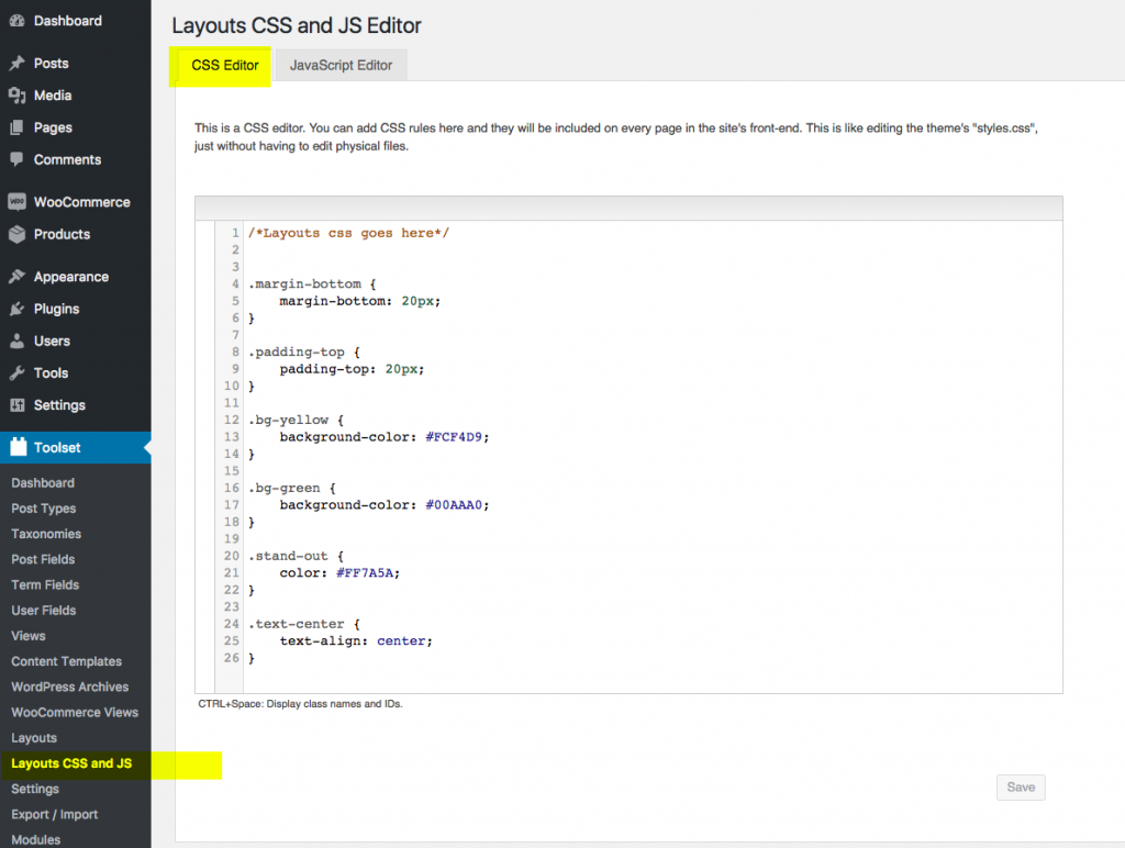 Layouts CSS Editor