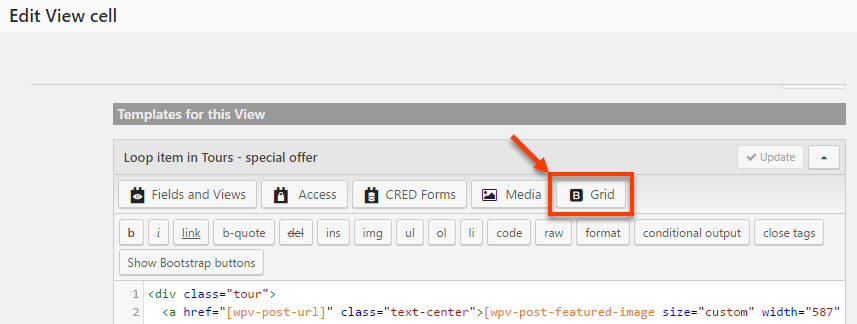 """Grid button in the Views """"Templates for this View"""" editor"""