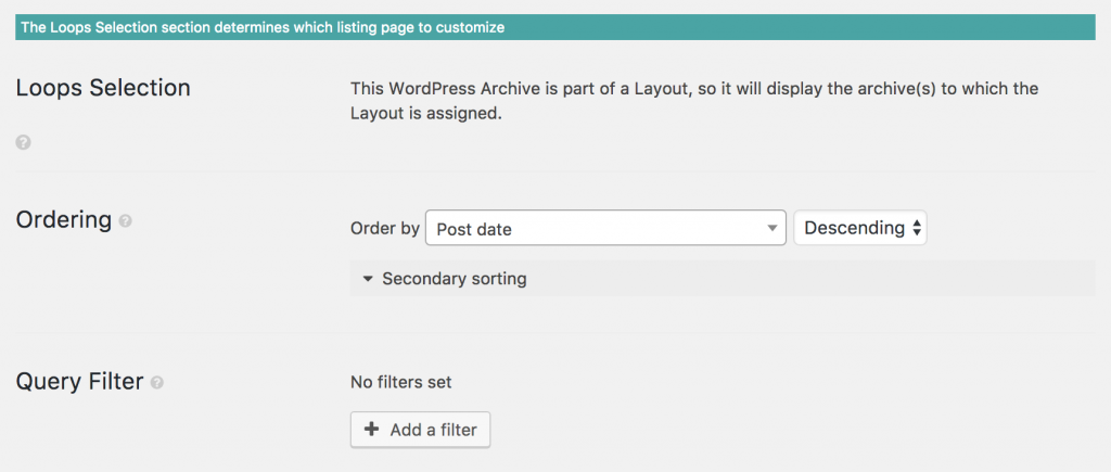 Screenshot of Archive cell Loop Selection section