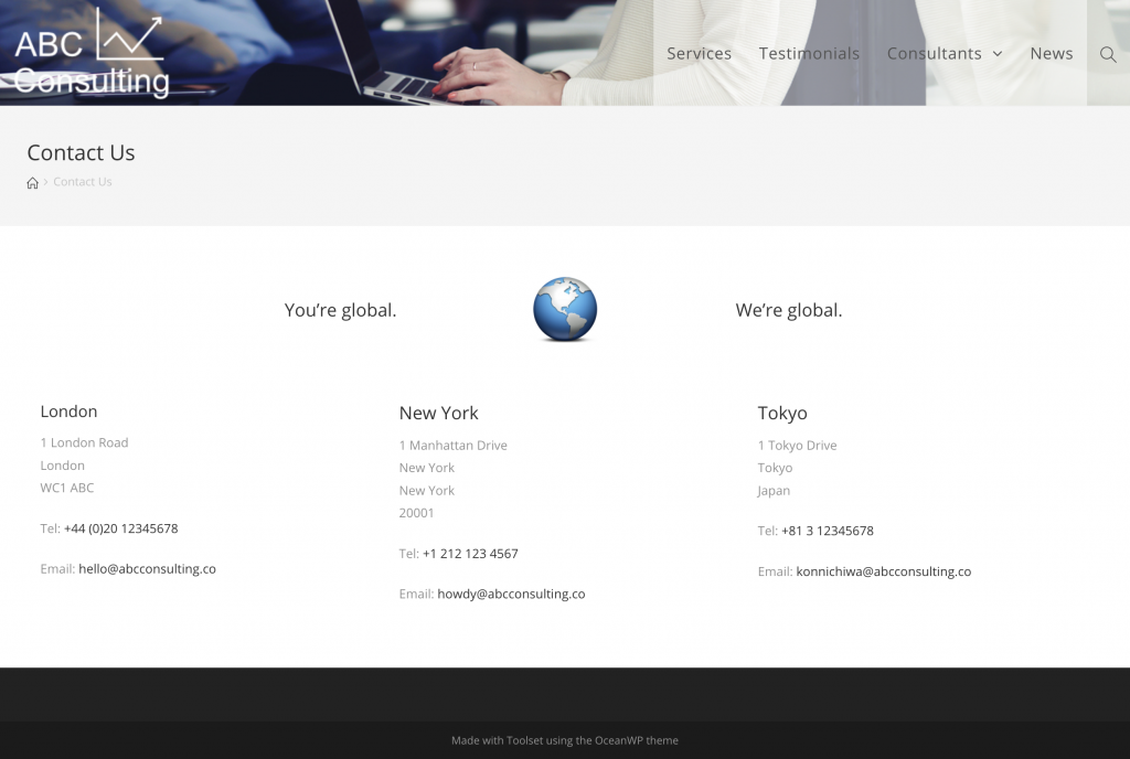Screenshot of training site contact page