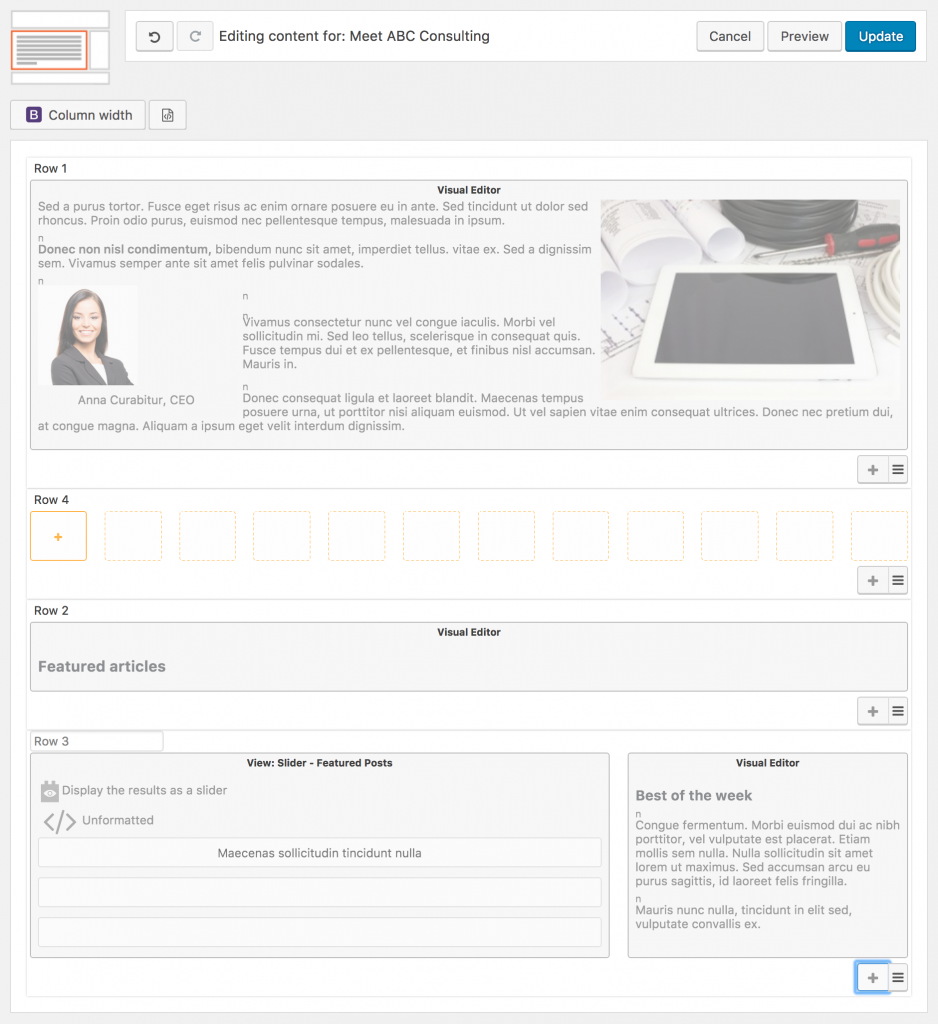 Screenshot of adding a row to the home page Content Layout