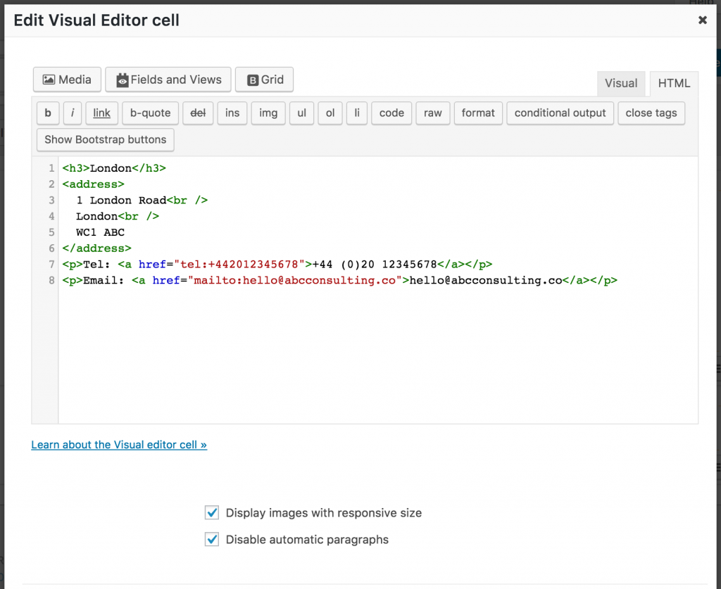 Screenshot of Visual Editor cell with London office contact details
