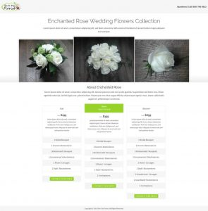 How a flower package is displayed on the frontend