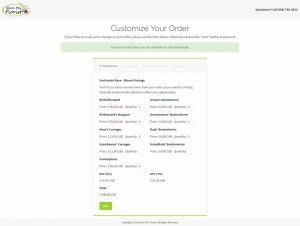 Order customization page for wedding flower packages