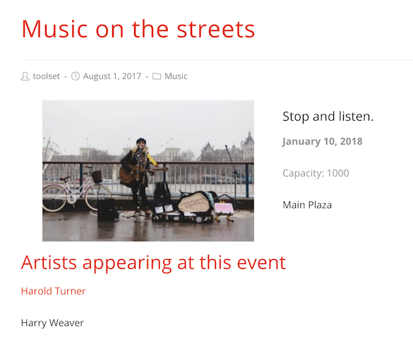 Artists appearing at an event