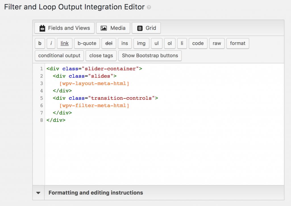 Screenshot of Filter and Loop Output integration editor