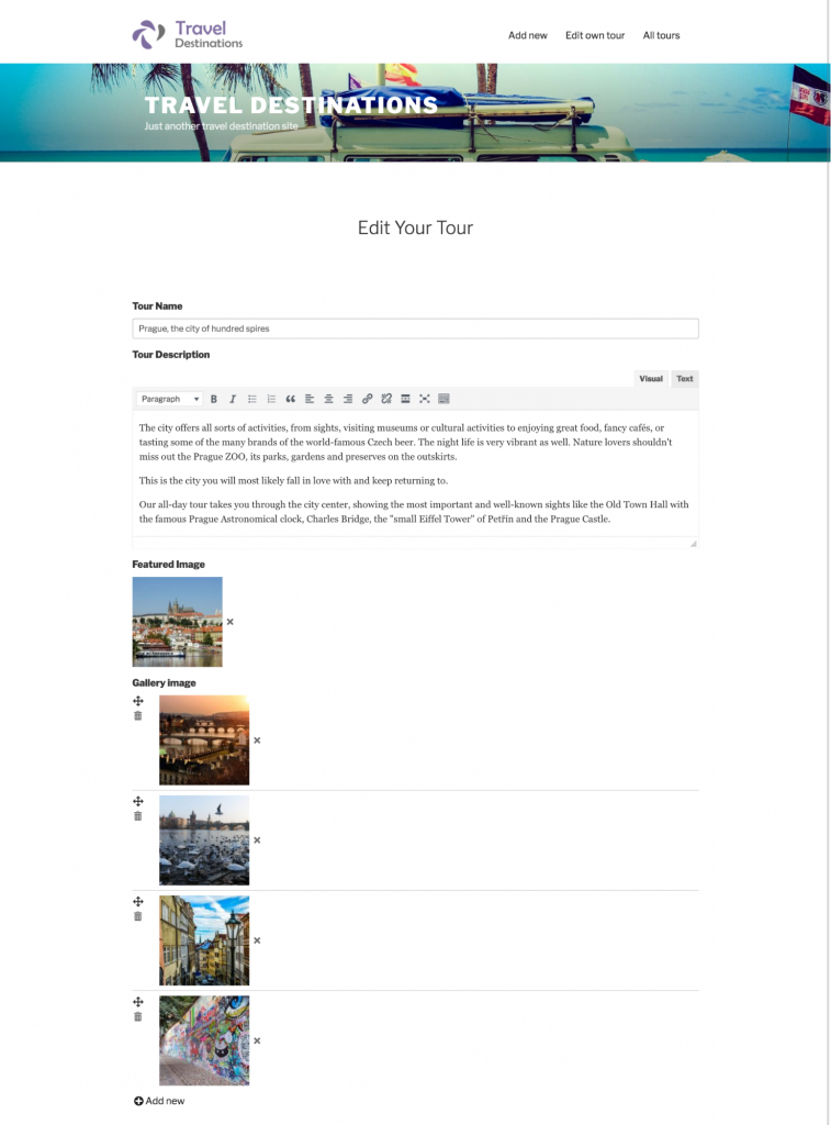 The gallery can also be added and edited by users who don't have access to the WordPress backend.