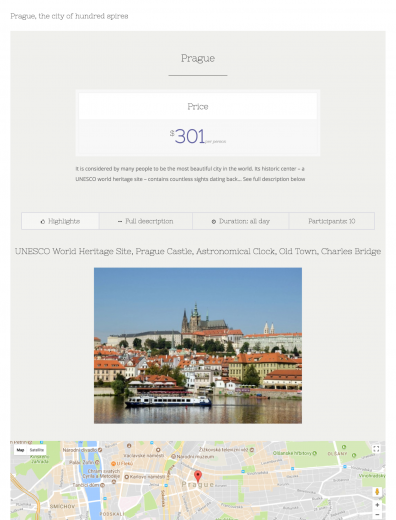 List of featured tours created with a View. The Fusion Builder by the Avada theme was used to create a single tour entry.