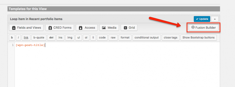 Switching to your page builder to build the content of your View post entry